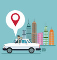 business man pin map car city background vector image vector image