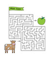 cartoon cow maze game vector image