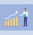 chart and growing arrow man with information vector image vector image