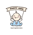 cute baby logo in sketch style toys vector image vector image