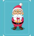 cute cartoon santa holding christmas present vector image vector image
