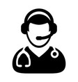 doctor icon with online consultation and support vector image vector image