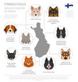 dogs by country of origin finnish dog breeds vector image vector image