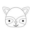 dotted shape happy raccoon head wild animal vector image vector image