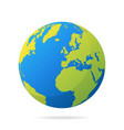 earth globe with green continents modern 3d world vector image vector image