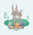 easter landscape scene with bunnies couple and vector image vector image