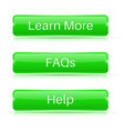 faqs learn more help buttons green 3d icons vector image vector image