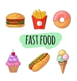 Fast food Set of cartoon icons vector image vector image