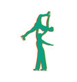 figure skating pair isolated glitch icon vector image vector image
