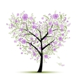 Floral love tree for your design heart shape vector image vector image