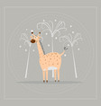 funny cartoon giraffe with palm trees on nature vector image vector image