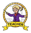 Funny teacher Emblem Profession ABC series vector image vector image