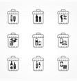 garbage waste recycling icons vector image vector image