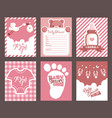 girl pink baby shower invitation greeting cards vector image vector image