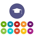 Graduation cap set icons vector image