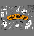 halloween doodle with black background and colour vector image