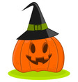 Halloween Pumpkin Jack O Lantern In A Witch Hat vector image vector image