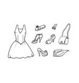 hand drawn collection of fashion icons vector image vector image