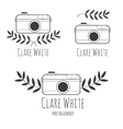 Hand drawn logo for photographer with camera vector image vector image