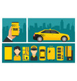 hand phone with interface taxi on screen vector image vector image