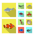 isolated object of sea and animal logo collection vector image