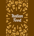 italian food concept banner hand drawn style vector image