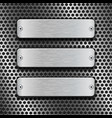 Metal rectangle plates on perforated background