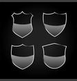 metallic black shield or badges icons set vector image vector image
