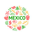 mexican travel and tourism signs thin line round vector image vector image