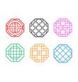 modern hexagon korean pattern window frame vector image vector image