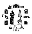 oil industry icons set simple style vector image
