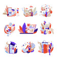 online education isolated abstract icons web books vector image