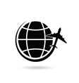 planet earth with airplane black silhouette vector image vector image
