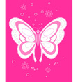 Sequin butterfly embroidery on pink background vector image vector image