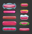 Set of pink button for game design vector image