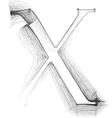 Sketch font Letter X vector image