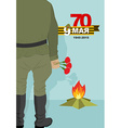 Soldier stands in front of eternal flame 9 may vector image vector image