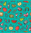 summer doodle seamless pattern vector image vector image