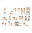 teen boy doing exercises set correct and wrong vector image