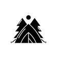 tent in the forest black icon sign on vector image