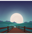 The wooden bridge - Night landscape vector image vector image