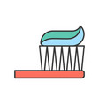 toothbrush and toothpaste dental related icon vector image vector image