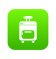 travel bag icon green vector image