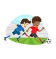 Two funny men soccer player playing football vector image vector image