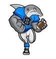 white shark - american football mascot character vector image vector image