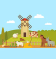 windmill and farm landscape vector image