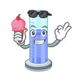 with ice cream graduated cylinder icon in outline vector image vector image