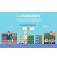 Supermarket with food and people or buyers vector image