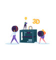 3d printing technology concept people characters vector image