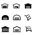 black warehouse icon set vector image vector image